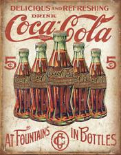 Coke - 5 Bottles Retro Tin Sign 13 X 16in
