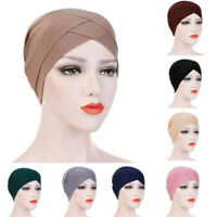 Women Hats Gift Muslim Turban Hair Accessories Fashion Portable Elegant Solid FT