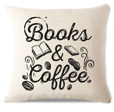 Books and Coffee C3 Cushion Pillow Cover Hot Coffee Stack Books Read Luxury