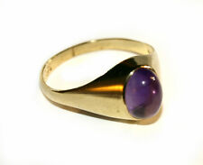 9ct Yellow Gold Ring set with Cabochon Amethyst -Gift Boxed