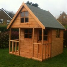 Wooden Playhouse Childrens 6x6 Kids Outdoor Wendy House Two Story Play Den