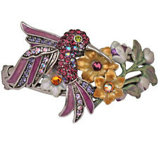 NEW KIRKS FOLLY PETITE HUMMINGBIRD DELIGHT CUFF BRACELET SILVERTONE/PURPLE