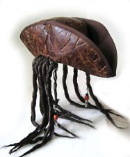Pirate Hat Captain Jack Dreadlocks Braids Adult Halloween Costume Cap & Wig