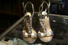 Paprika silver strappy heeled sandals size 8-1/2M