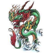 Bullseye Realistic Temporary Tattoo, Oriental Dragon, Made in USA, Big Tattoos