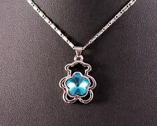 Silver Blue Gemstone Teddy Bear Pendant Necklace w/Free Jewelry Box/Shipping
