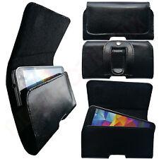 1A ECHT LEDER Gürtel Seiten Quer Schutz Hülle Etui Tasche für Sharp B10 SCHWARZ