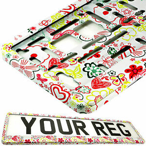 FLOWERS TUNING Car Number Plate Surround Holder FOR ANY CAR, TRUCK VAN TRAILER
