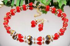 AUFFALLENDES SET / Halskette + Ohrringe Lampwork Glas Herzen in Rot + Gold