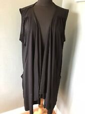 *TOGETHER* lace-trimmed midi-length sleeveless cardi in black, size 3XL