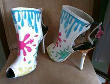 £430 Sophia Webster Arty Party splatter funky peep toe boots heels 38 uk 5 new