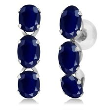 3.30 Ct Oval Blue Sapphire Solid 14K White Gold Hoop Earrings