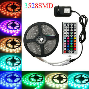 5M 1M 3528 RGB 300 Led SMD Flexible Light Strip Lamp 44 key +12V Power 2M 3M