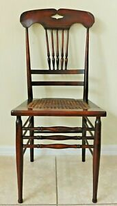 Antique/Vtg Mahogany Wood Spindle High Back Cane Seat Dining Accent Side Chair