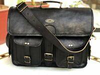 """18"""" Men Black Leather Vintage Messenger Shoulder Laptop Briefcase Travel Bag"""