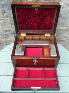 An Antique Rosewood Toilet Box. Travel Toilet Box. 2 Locks & Keys. A/F (359)