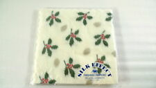 12 Sheets SILK EFFECT Fashion Papers Napkins 13x13 CHRISTMAS HOLLY Crafts Japan