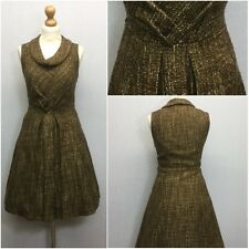 TU Ladies Brown Gold Boucle Boat Neck 60s Retro Flared Skater Dress UK Size 12