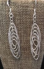 Dangle Multi  Oval Earrings Drop 2.8 Inches Silver toned