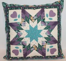 "Vintage Throw Pillow - Quilted - Homemade- Green,Blue,Purple - 16"" - Euc"