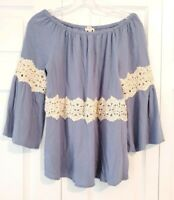 UMGEE womens size M blue ivory crochet bell sleeve off shoulder boho blouse