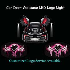 2x Pink Middle Finger Skull Logo Car Door Laser Projector Ghost Shadow LED Light