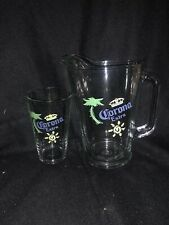 Corona Extra Glass Beer Pitcher 60 Ounces Heavy Duty Vintage And Pint Glass