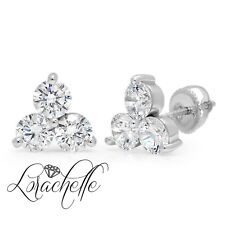 3.0 ct 3-Stone Round Stud Earrings Solid 14K White Gold