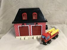 Fire Engine Shed House Works with Wooden Wood Track Compatible w Thomas Trains