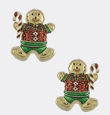 CHRISTMAS GINGERBREAD MAN WITH CANDY CANE GOLD TONE PIERCED EARRINGS
