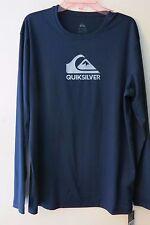 Quiksilver Navy M Long Sleeve Rash Guard Swim UV Shirt Loose Fit Solid Streak