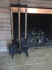 Vintage Mid Century Wrought Iron & Wood Fireplace Tools Pilgrim Style