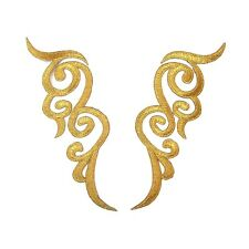 Gold Applique Pair Iron On Embroidery #36 Aust Seller Tutu Dance Costume Trim