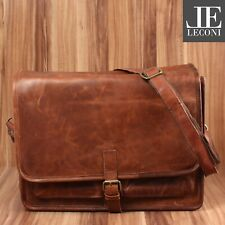 LECONI große Aktentasche Messenger Bag Ledertasche Unisex Leder braun LE3014-wax