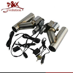 """2"""" Dual Electric Exhaust Cutout Dump Bypass Valve w/Wireless &Switch Control Kit"""