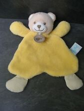 doudou ours beige jaune rayure cœur baby nat'