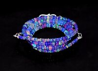 "16""Natural Ethiopian Purple Opal Wello Fire Opal Gemstone Bead Necklace S01116"