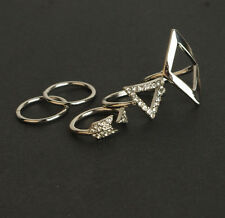Silver Mid Midi Above Knuckle Ring Band Tip Finger Stack 5pcs/Set Hot Celebrity