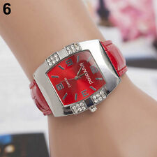 Ladies Fashion Silver Case Red Dial & Rhinestone Quartz Red Band Wrist Watch