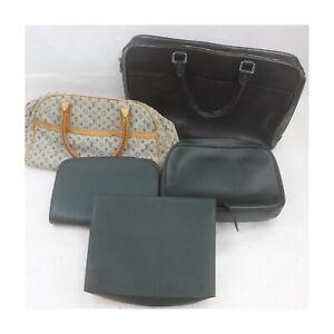 Louis Vuitton Taiga Monogram Mini lin Brief Case Clutch Hand Bag 5pc set 522327