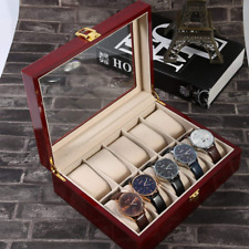 10 Grids Wooden Watch Display Case Storage Box Winder Jewelry Collection Visible