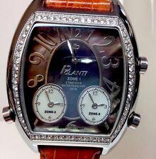 Polanti Genuine Diamond 3Time Zones 45mm Stainless Steel Italian Designed Watch