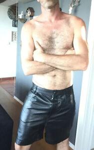 Frapp Kurze Leder Shorts Gr.40 W30 Lederhose Schwarz Bluf Kniebundhose Hose