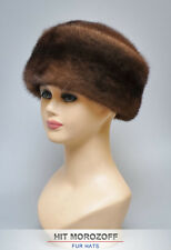 Mahogany MINK Fur Hat Winter Chapka Pill Box Zhivago Pelzmütze Fellmütze Nerz