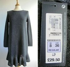 M&S Marks and Spencer Grey Knitted Jumper Dress Frilly Hem BNWT Size 8