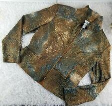 Joseph Ribkoff metallic textured zip up casual jacket SIZE 14 peplum hem (M)