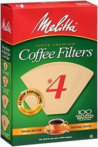 Melitta Super Premium 624602 Cone Coffee Filters #4 - Count 100 Natural Brown