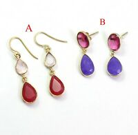925 Sterling Silver Jewelry Rose Quartz Ruby Gemstone Gold Plated Gift Earring