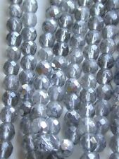 Antique 7mm Rough English Cut Crystal Czech Glass Beads Silver GOLD Sparkle RARE