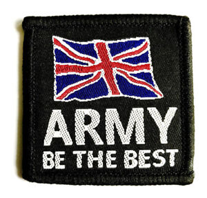 EMBROIDERED BE THE BEST ARMY PATCH Black UK flag badge Soldier Military jacket